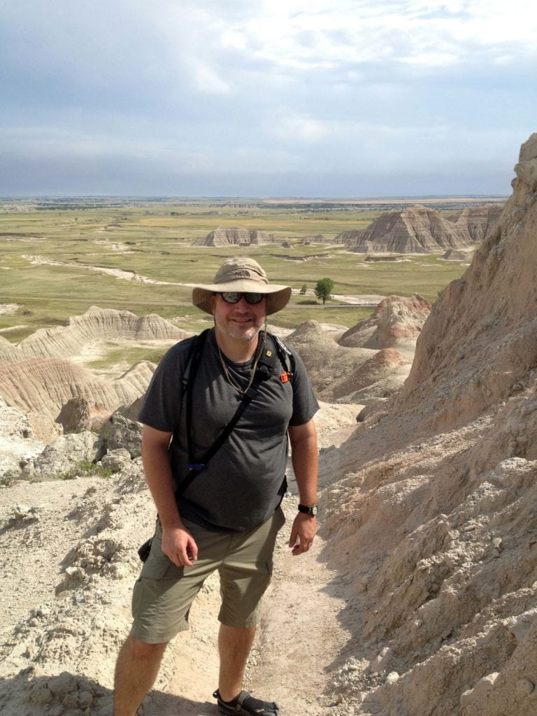 Grant hiking in Badlands National Park