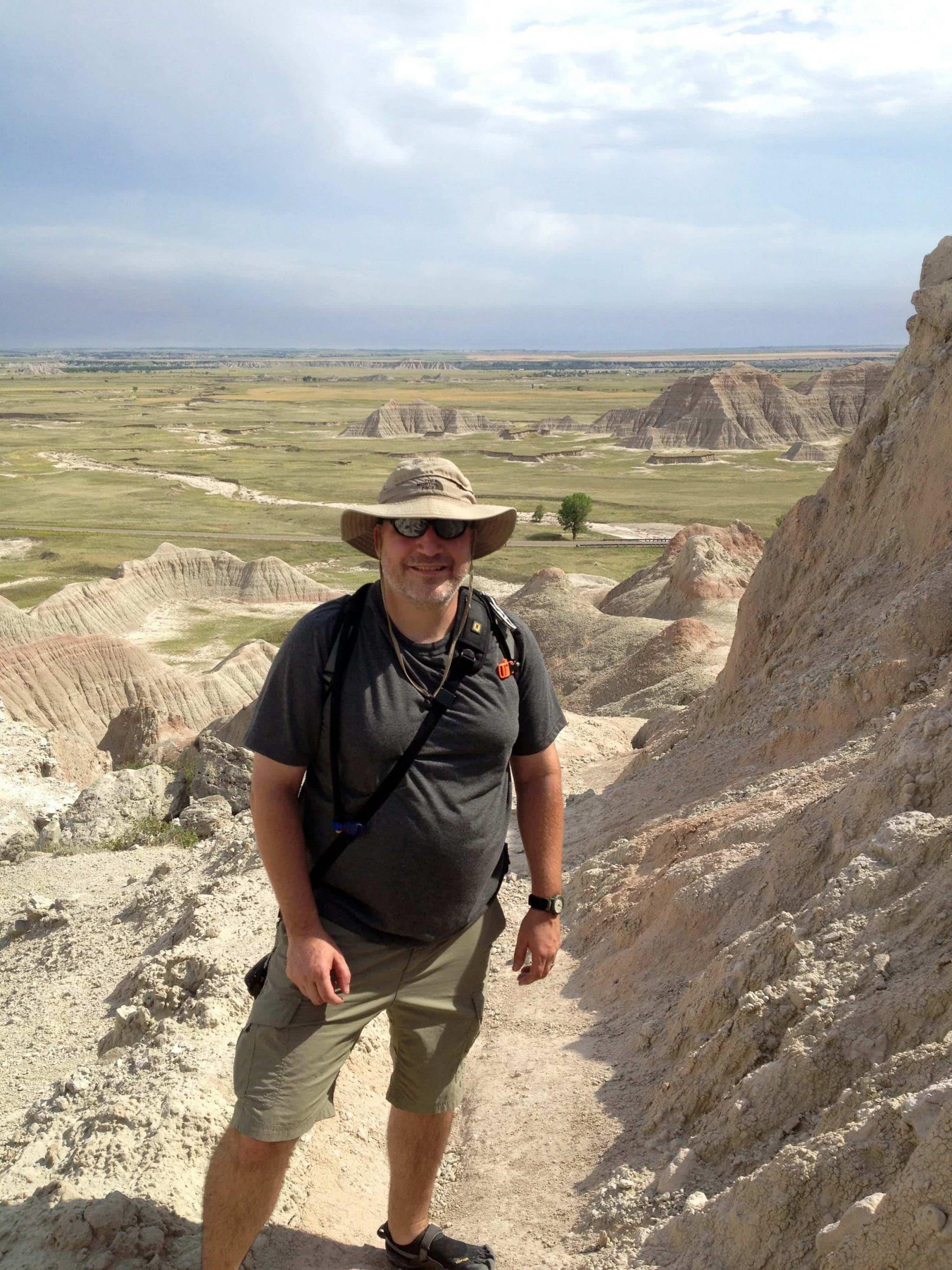 Grant hiking in Badlands National Park