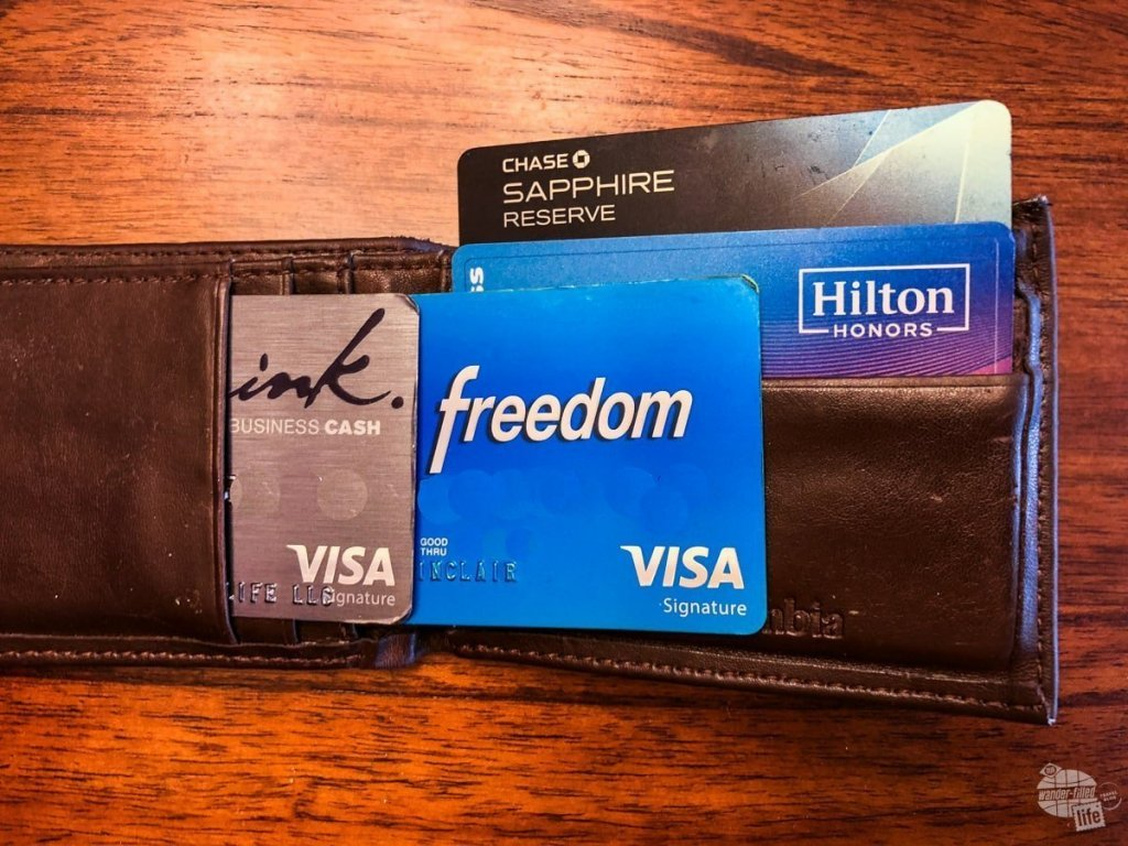 The credit cards I keep in my wallet.