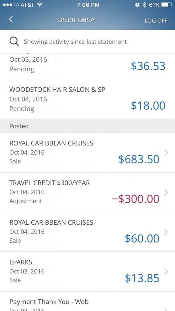 Instant travel credit