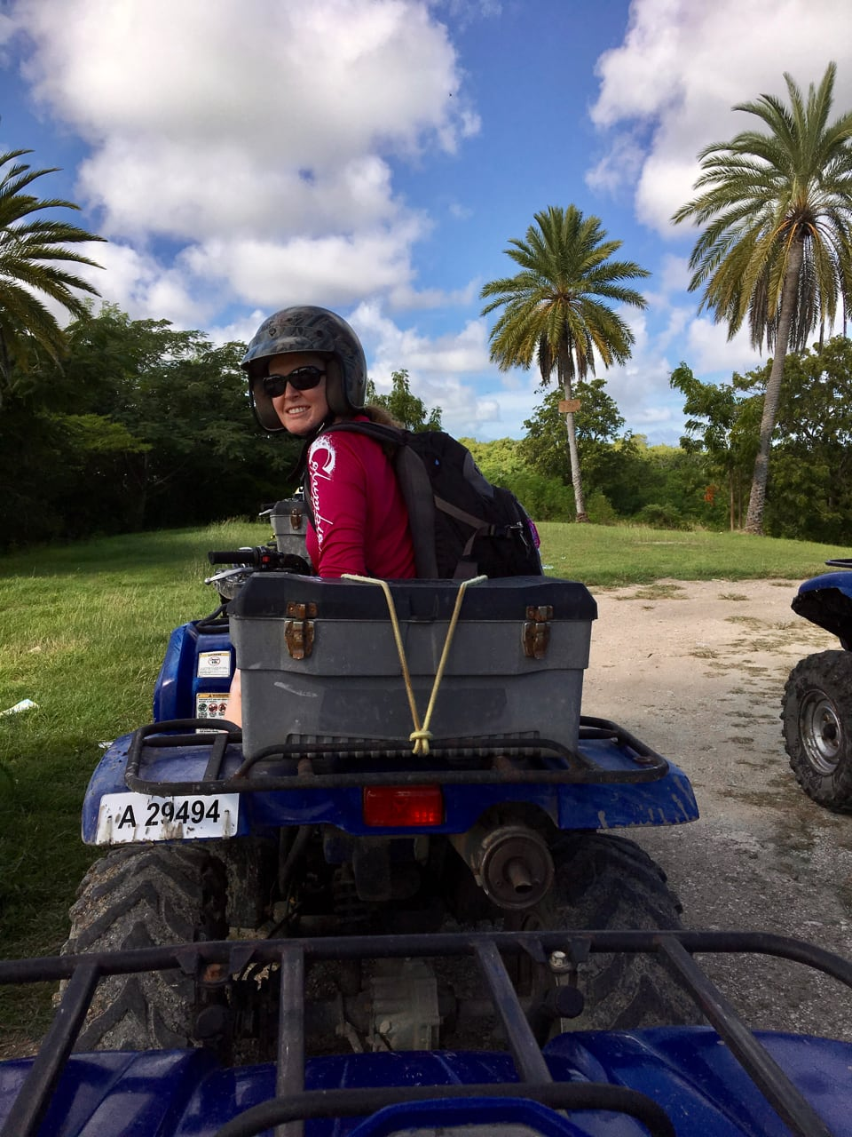 Bonnie driving an ATV on Antigua. The interior of the island is just as pretty as its beaches.