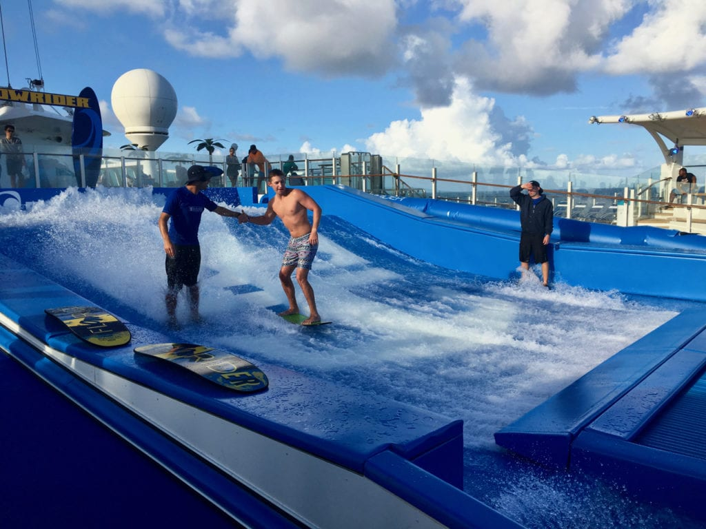 The Flowrider makes for a great activity during a day at sea on the Southern Caribbean Cruise.