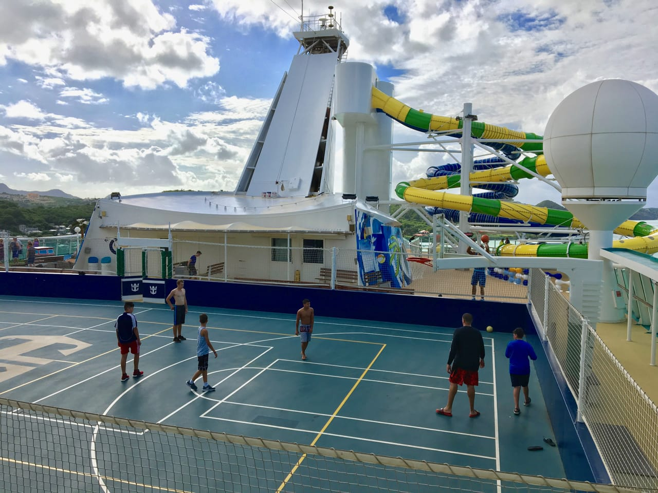 Hit the basketball court to stay active while cruising!