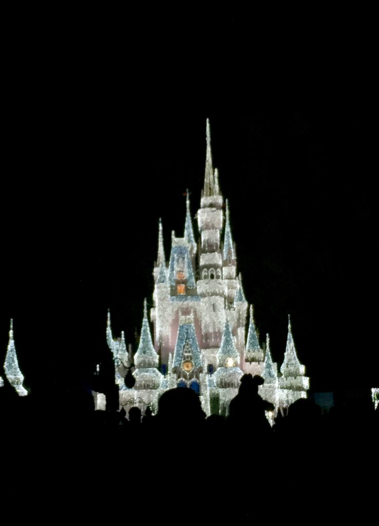 Cinderella's castle transformed by thousands of white lights