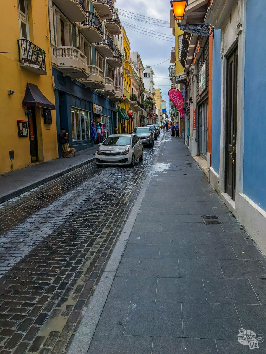 Old San Juan is a jumble of narrow streets amidst shops and restaurants.