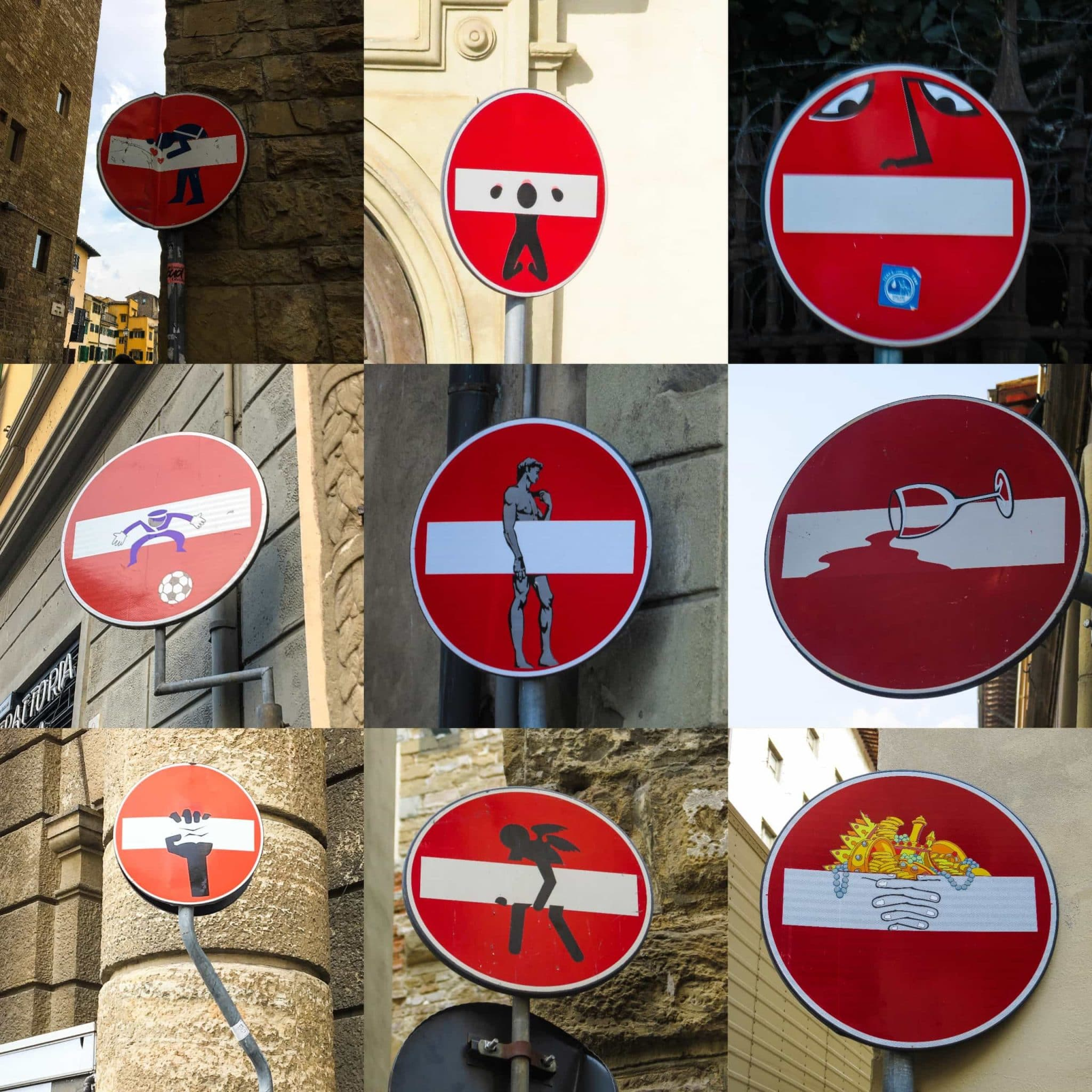 Be sure to look for street sign art in Florence.