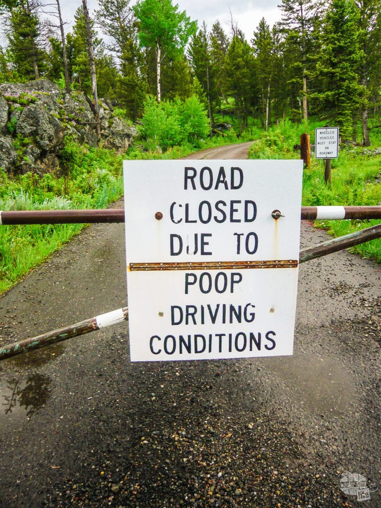Road closed sign in Yellowstone National Park