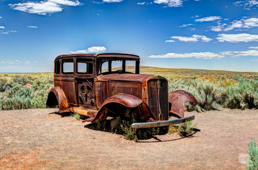This 1932 Studebaker sits where Route 66 used to cut through Petrified Forest National Park.