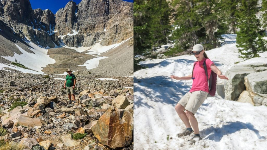 Grant and Bonnie traverse Glacier Trail in Great Basin NP.