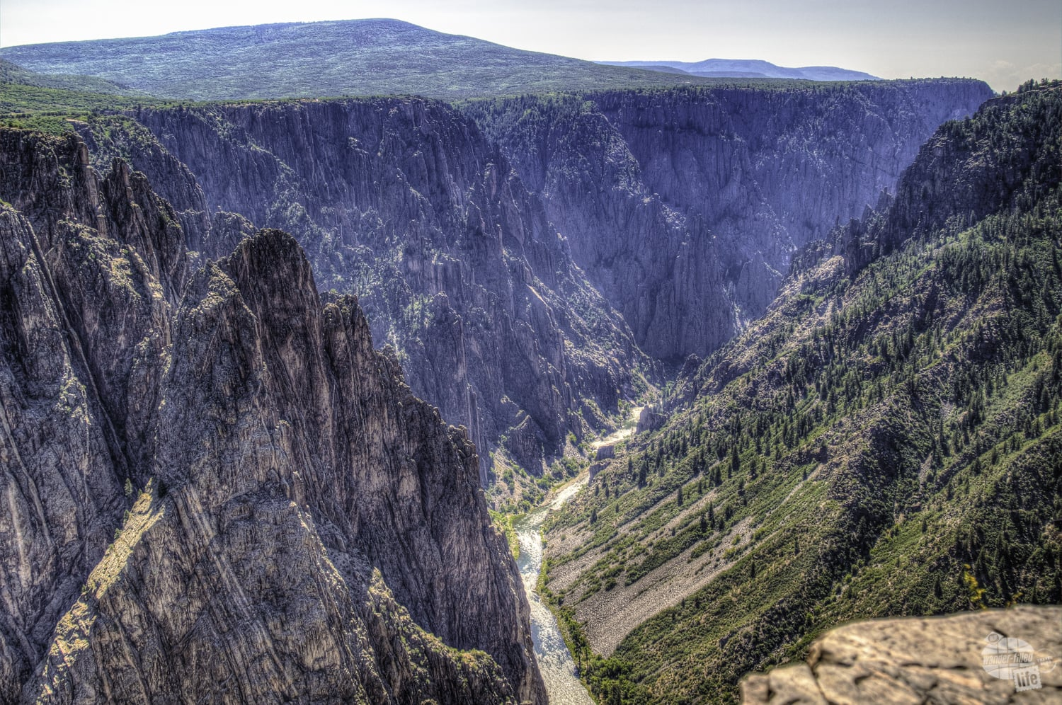 The very steep walls of the Black Canyon.