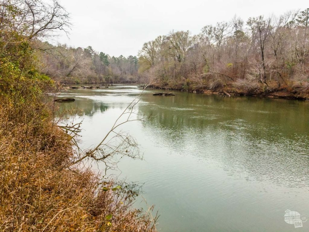 This bend in the river was the site of the Battle of Horseshoe Bend, the major battle of the Creek War around the same time as the War of 1812.