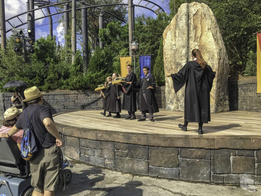 Both Hogsmeade and Diagon Alley feature stages for Harry Potter-related shows.