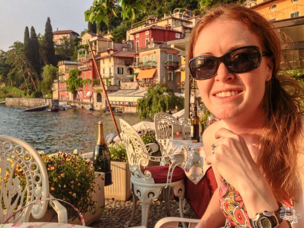 Bonnie enjoying dinner in Varenna.