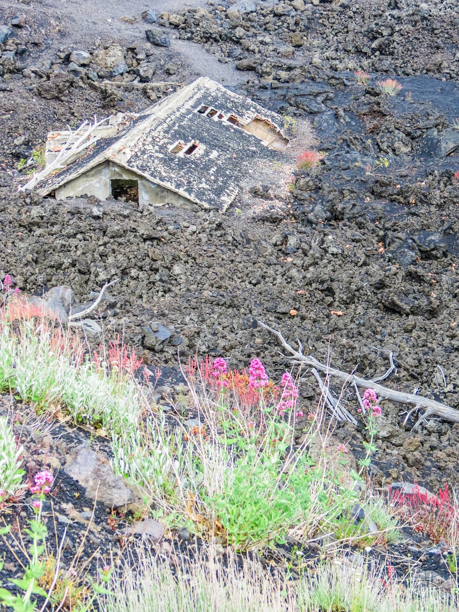 A house buried in a lava flow.