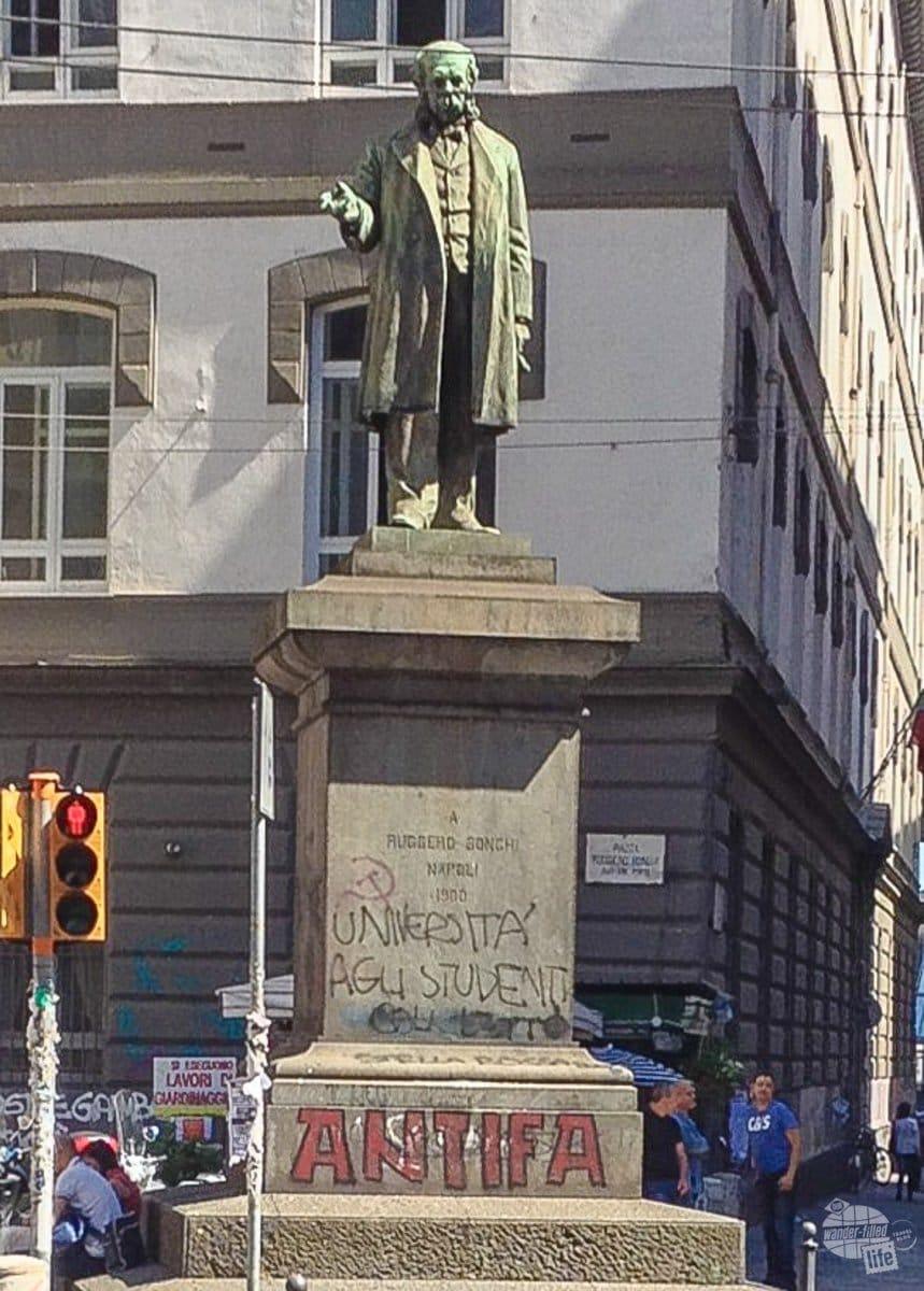 Statue with Graffiti in Naples
