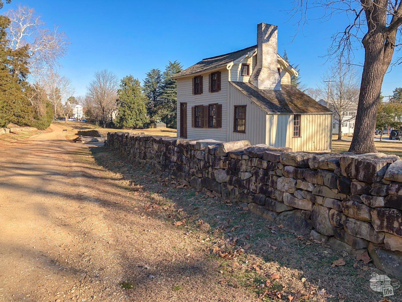 The Sunken Road and Stone Wall at the Fredricksburg battlefield.