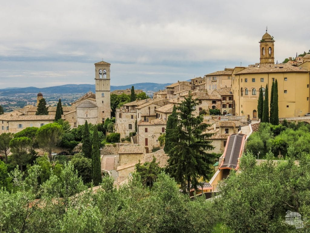 Assisi with the Umbrian hills in the distance.