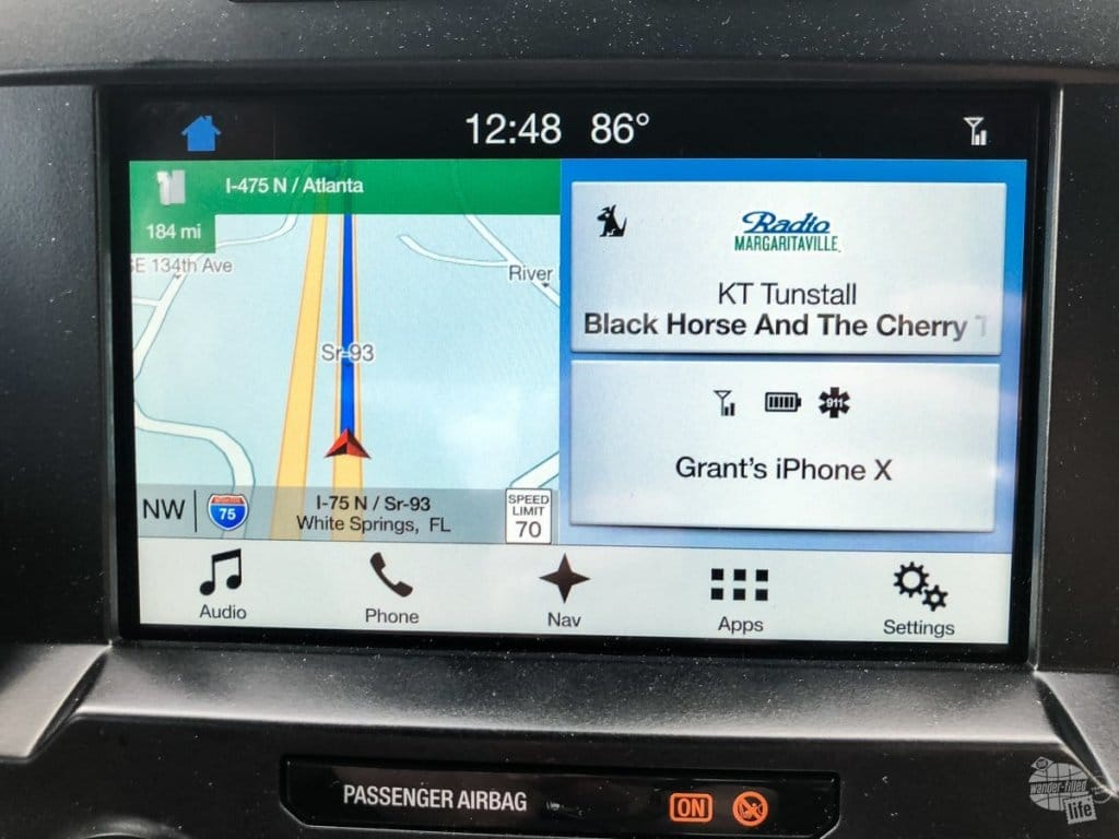 "The ""home screen"" of the Ford F-150 SYNC 3 system."
