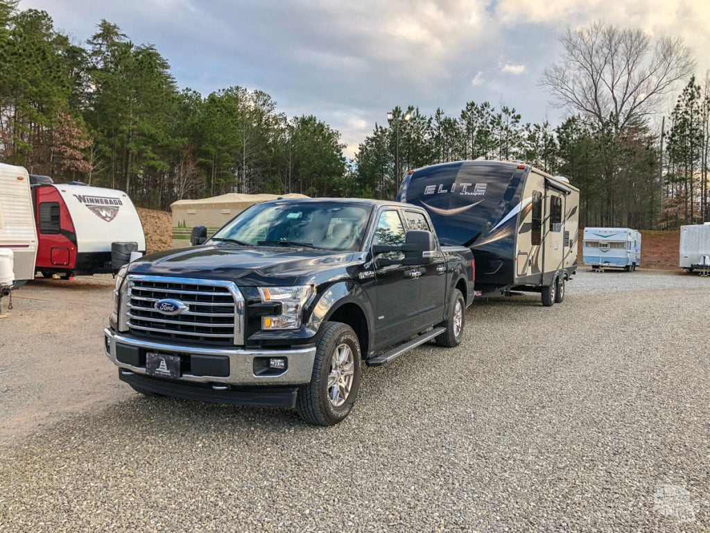 The new F-150 towing the camper