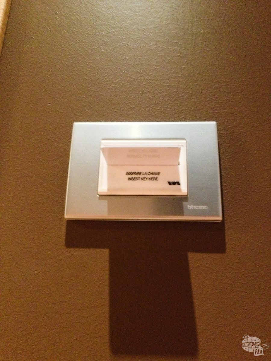 Hotel key cards help prevent electrical waste in Italy.