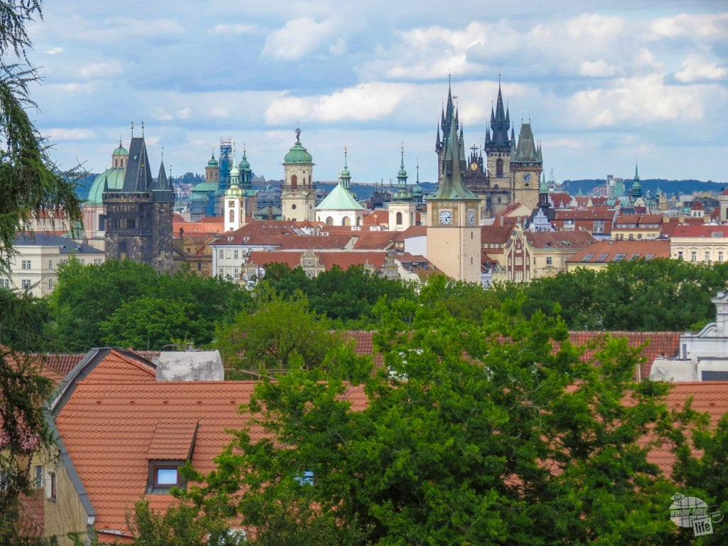 Looking over the roofs of Prague