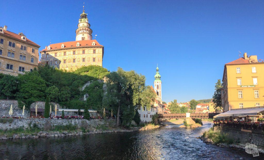 Lounging by the River Vltava in Cesky Krumlov.