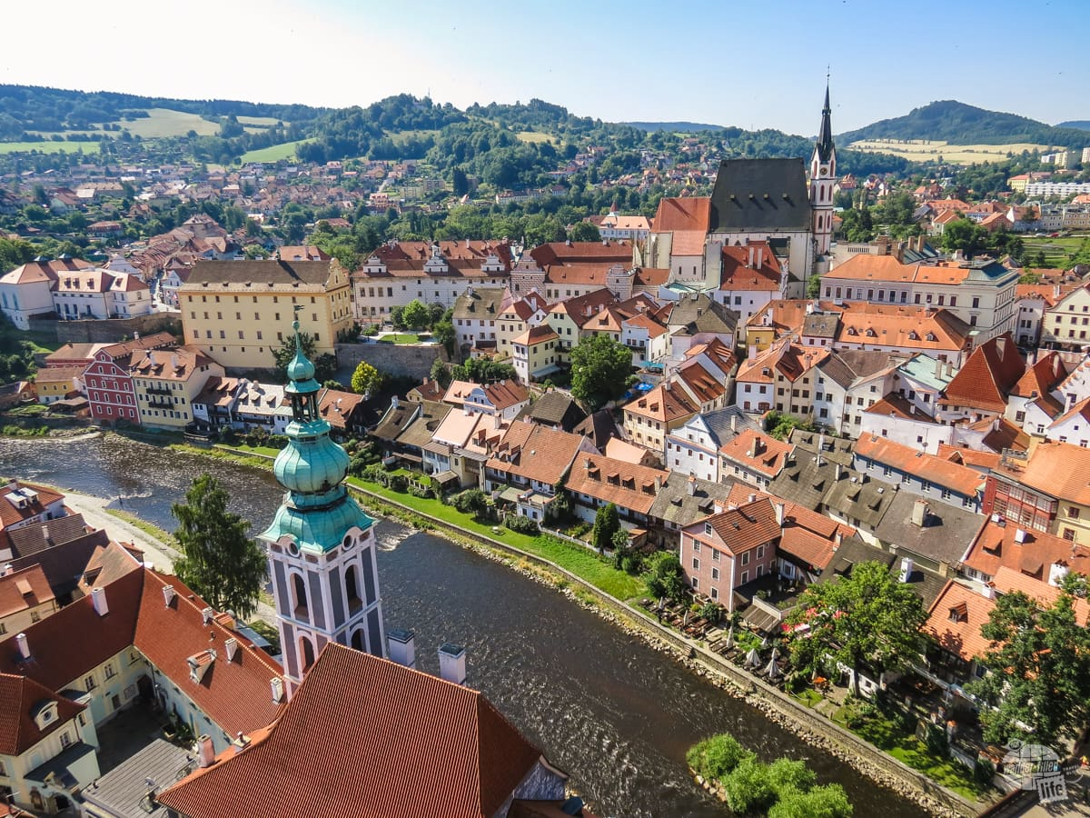 The view from the castle tower in Cesky Krumlov.