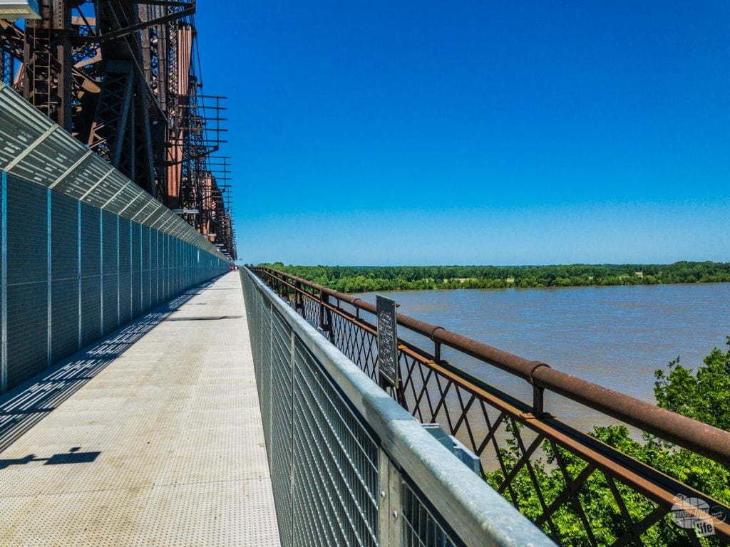 The Big River Bridge allows pedestrians to cross the Mississippi River with great views of Memphis and a park on the other side in Arkansas.