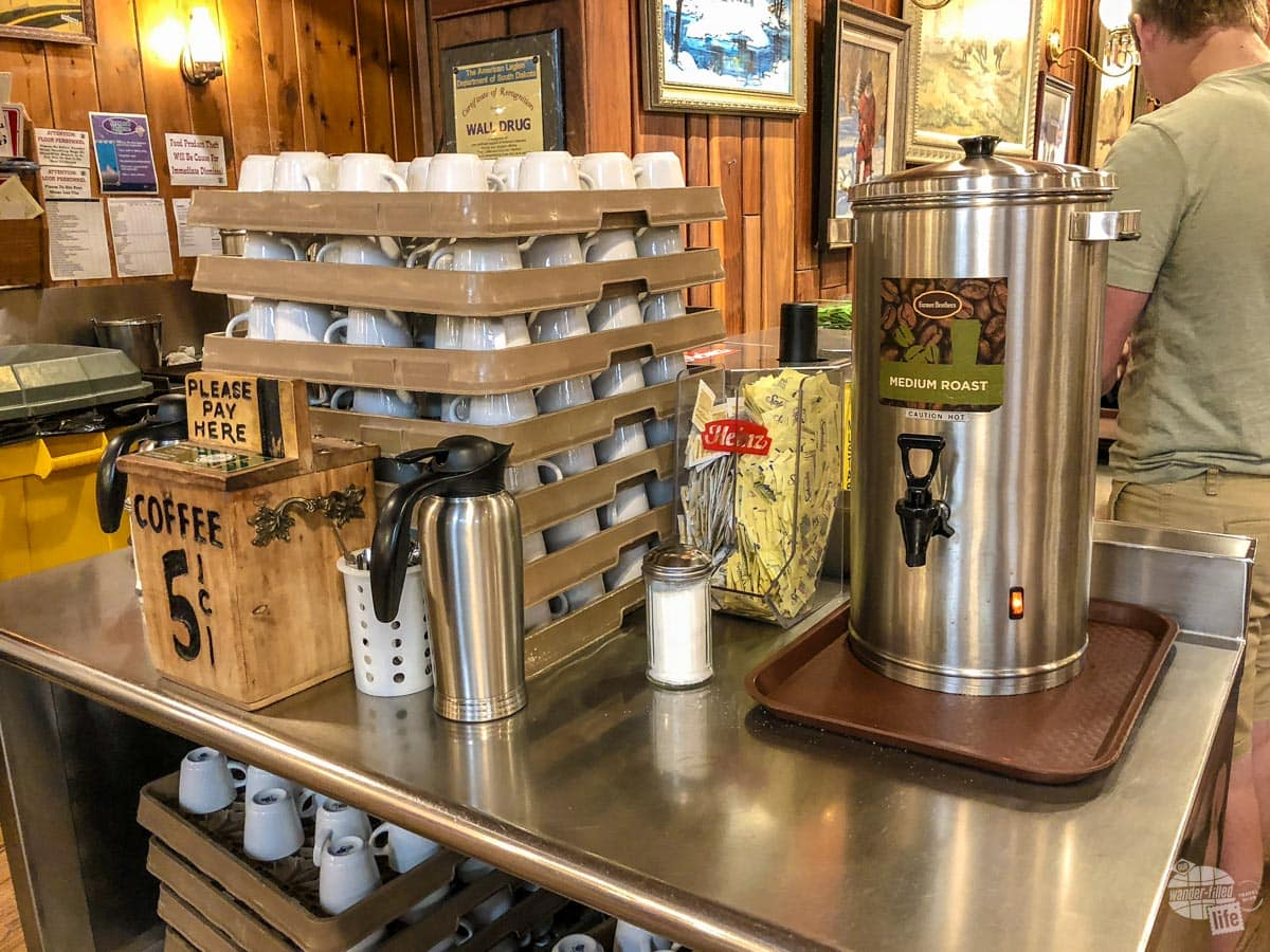 Coffee is still five cents at Wall Drug.