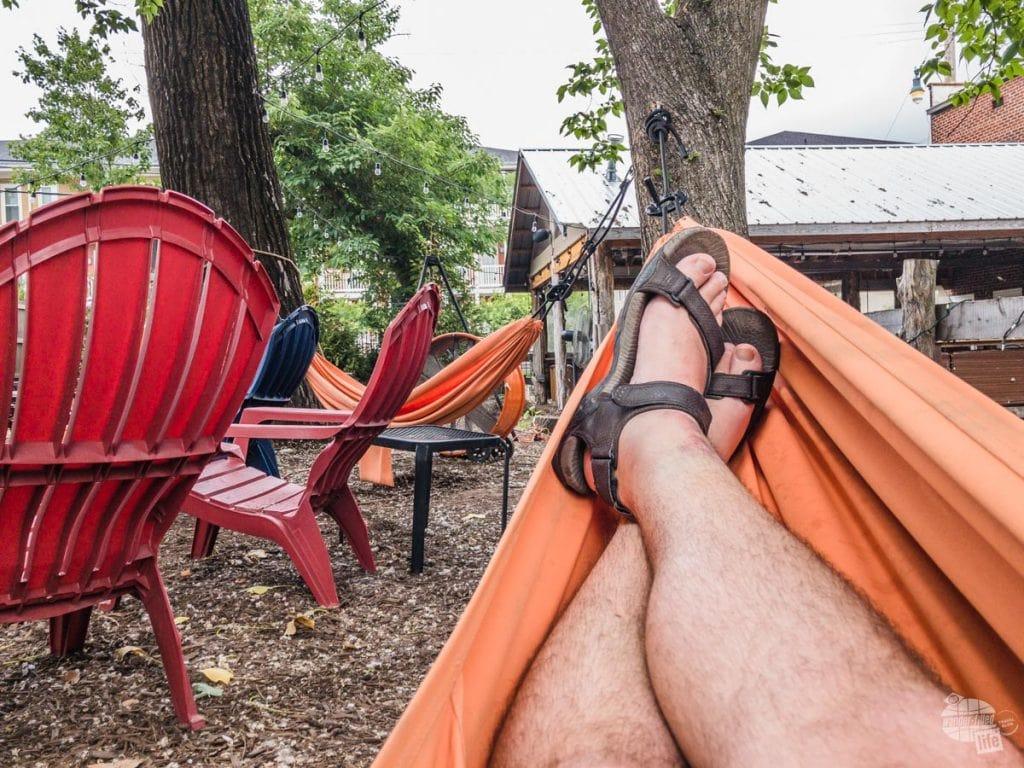 Grant in a hammock at Loflin Yard