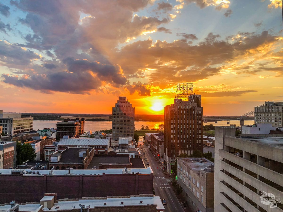 Sunset from the roof of the Peabody Hotel