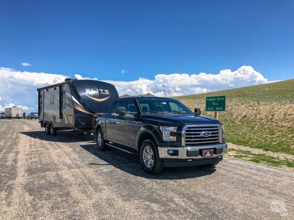 Pulling our camper over Powder River Pass in Wyoming