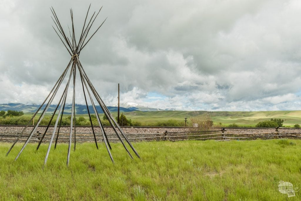Tipi poles set up at the Grant-Kohrs Ranch National Historic Site.