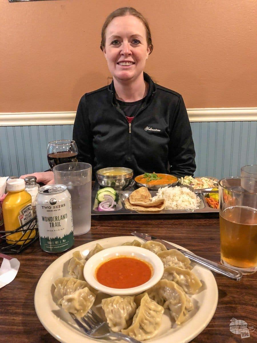 Bonnie enjoying Nepalese cuisine.