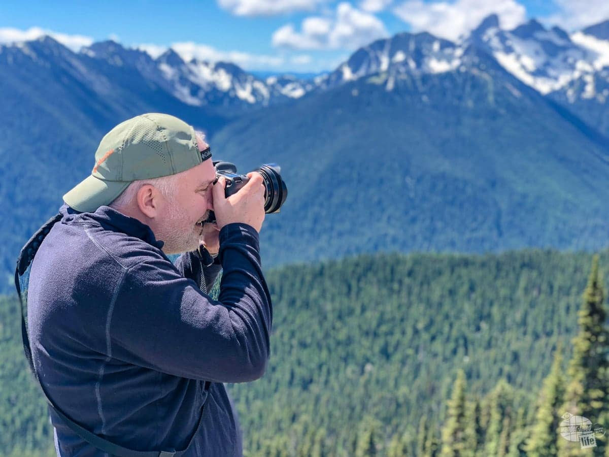 Grant taking pictures at Mt. Rainier National Park.