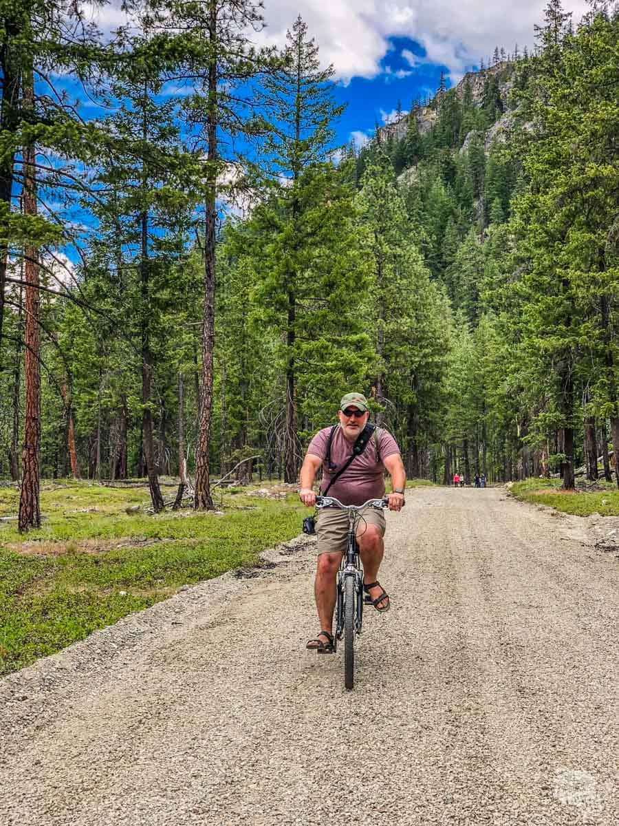 Grant on a bike in Stehekin.