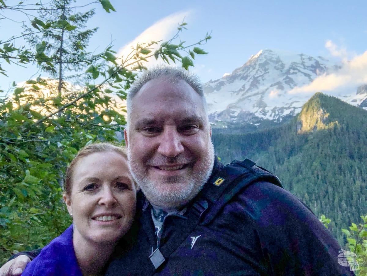 Selfie at Mt. Rainier at sunset