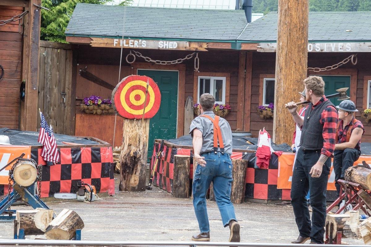 Axe throwing at the Great Alaskan Lumberjack Show.