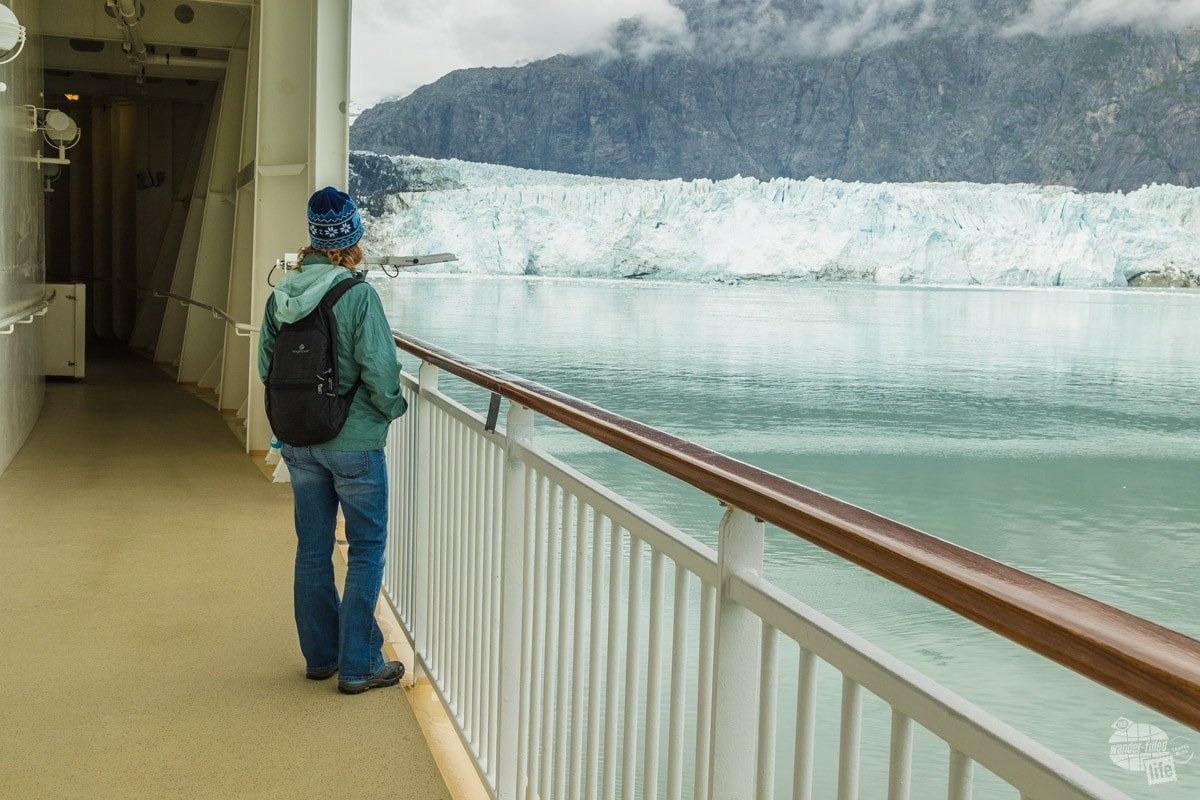 Bonnie looking at the Marjorie Glacier in Glacier Bay National Park. Some itineraries skip the park, but we think it is one of the best parts of the cruise.