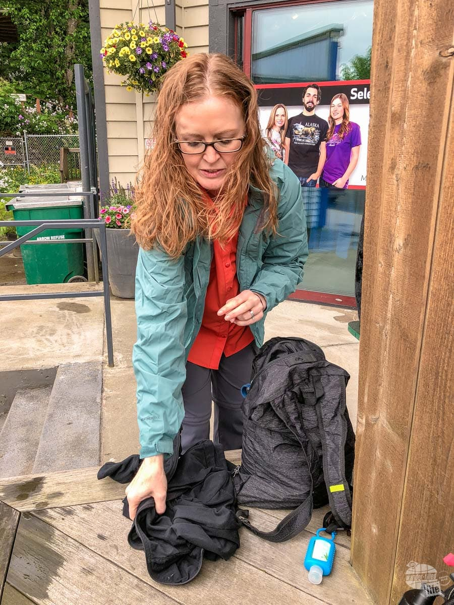 Bonnie packing the Eagle Creek Packable Daypack.