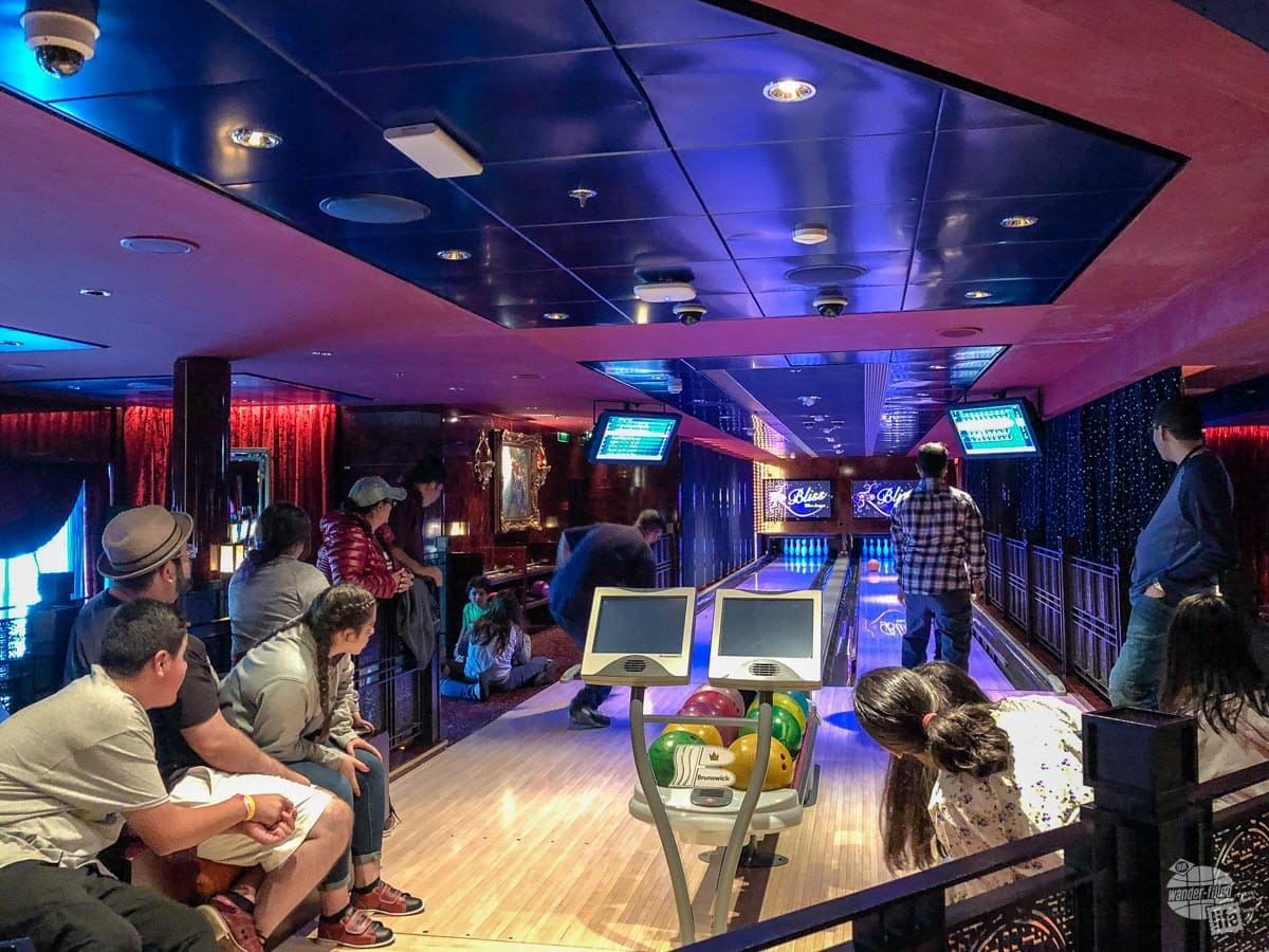 The bowling alley on Norwegian Pearl