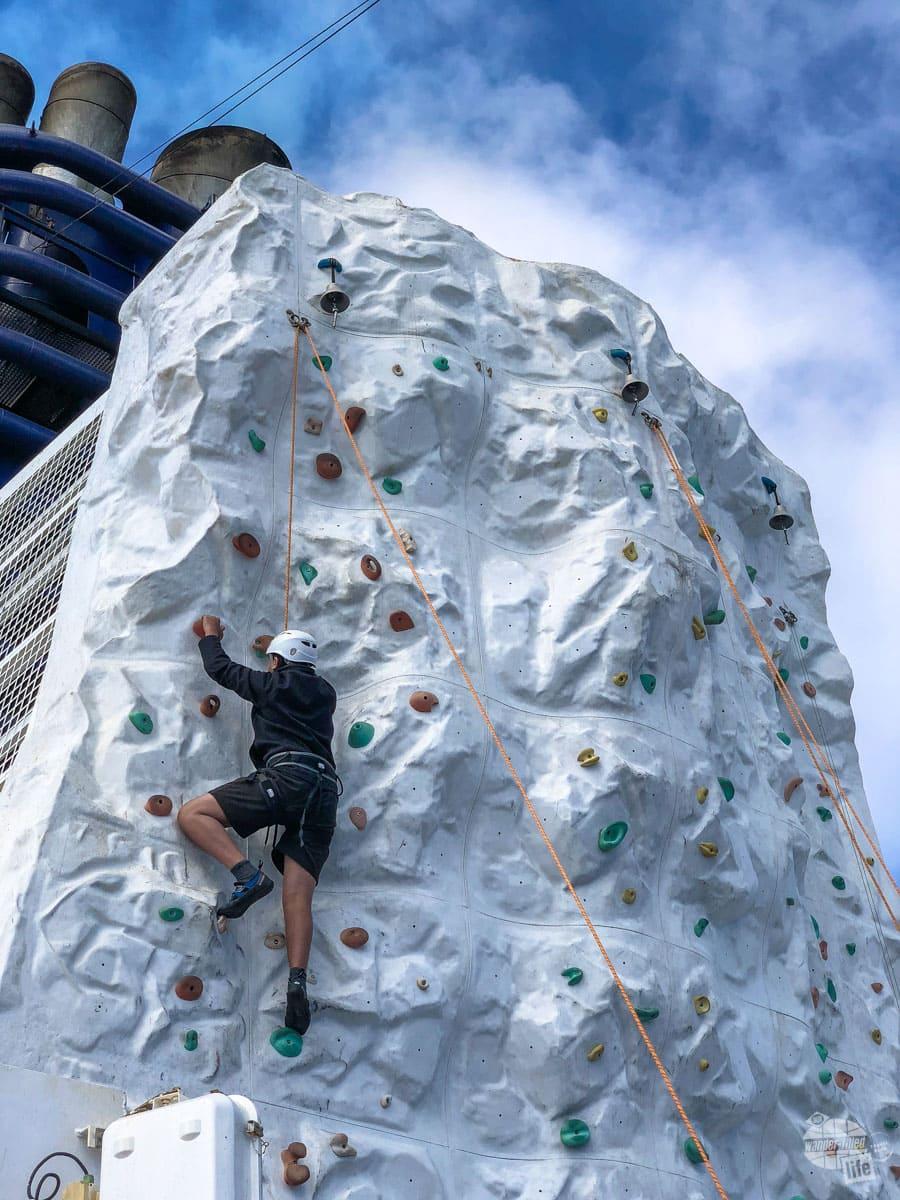 Rock climbing wall on Norwegian Pearl