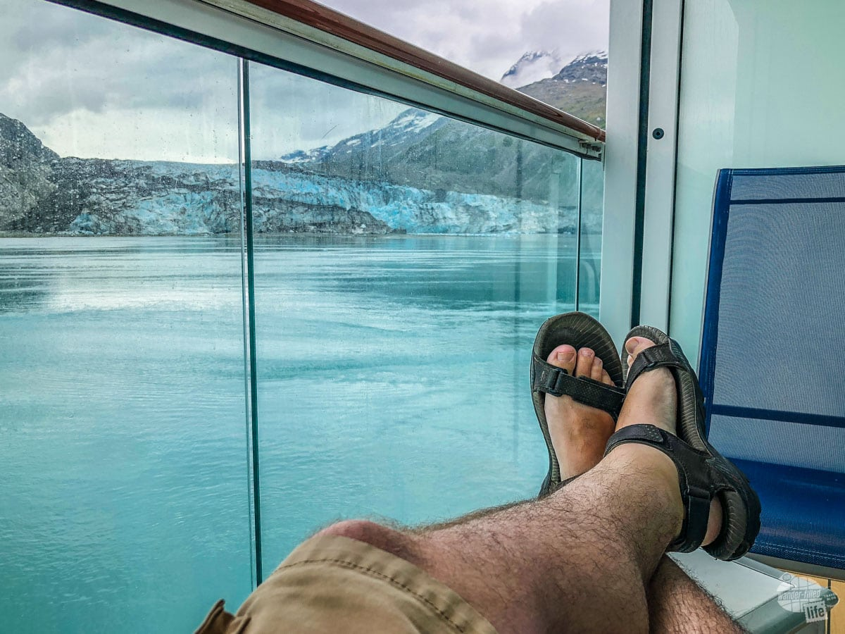 Why balconies are great on an Alaskan cruise. Oh, don't try the sandals thing unless you have serious tolerance for cold.