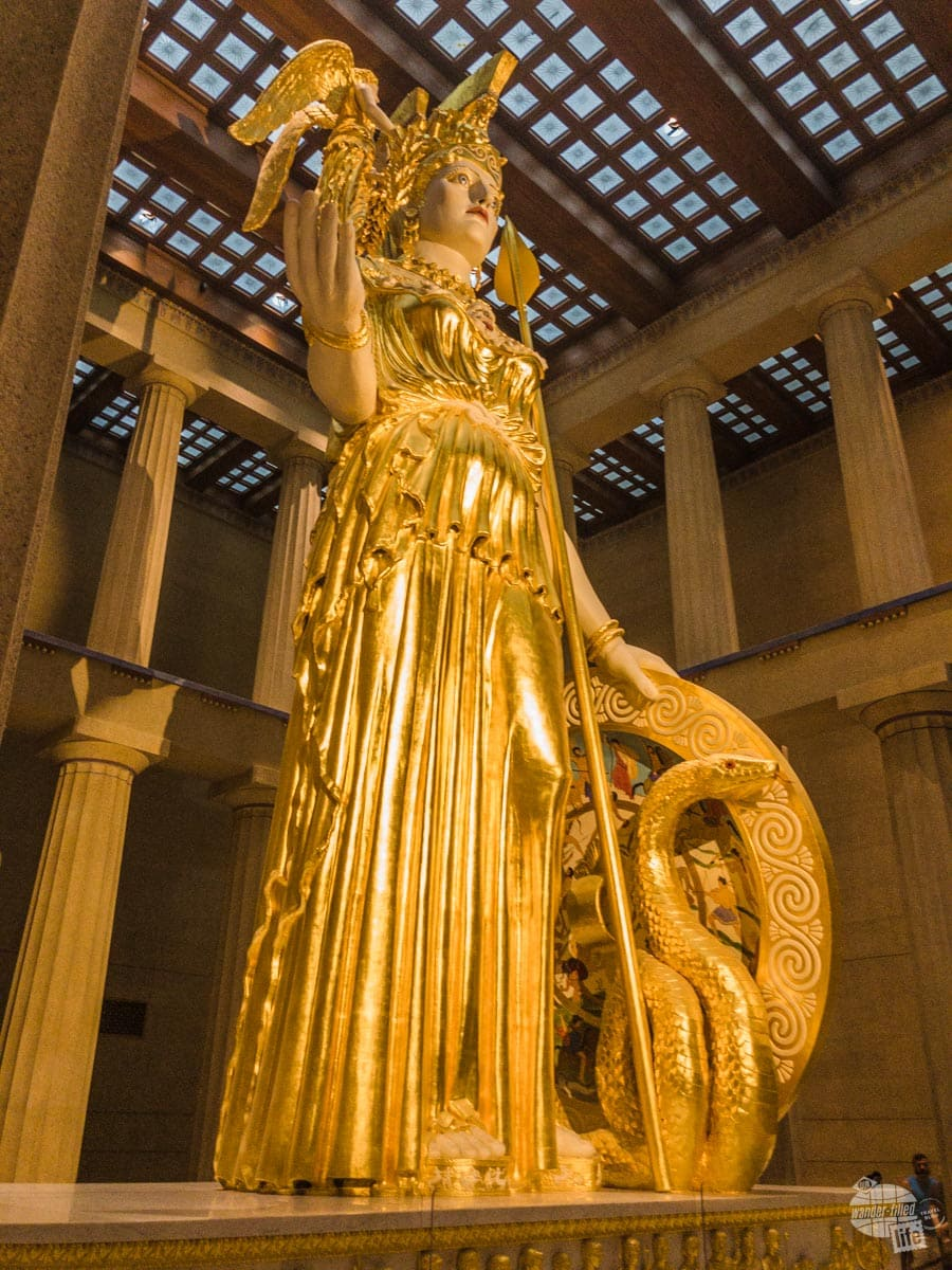 The statue of Athena is gilded in pure gold.
