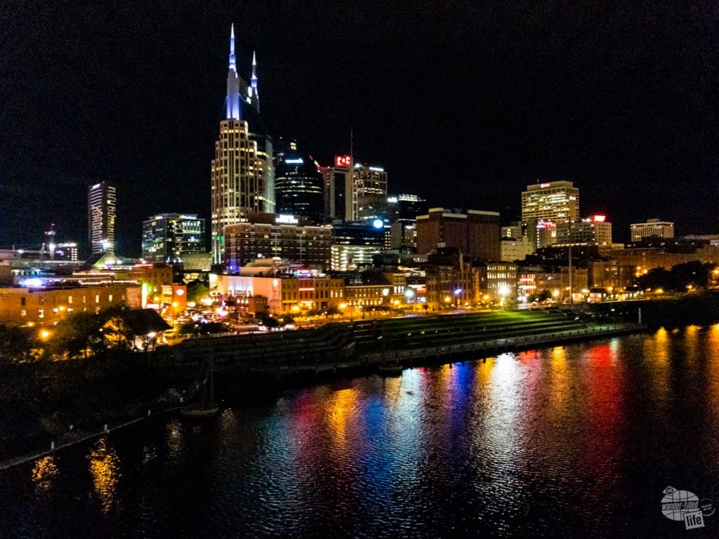 Nashville at night from the Shelby Street Bridge