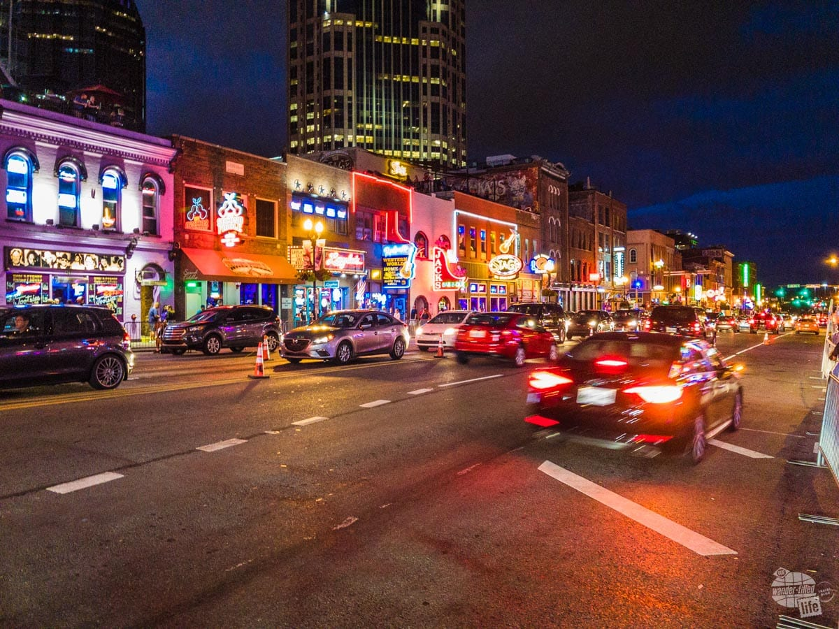 The bright lights of Broadway in Nashville.