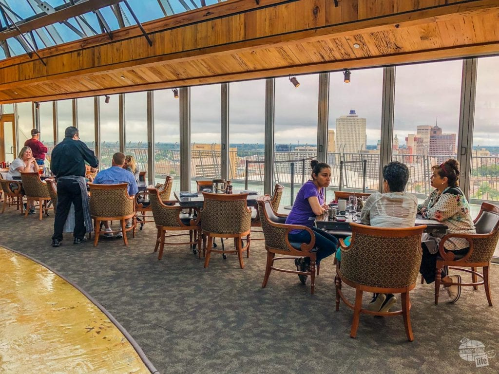 The Lookout Restaurant has an outstanding view of downtown Memphis.