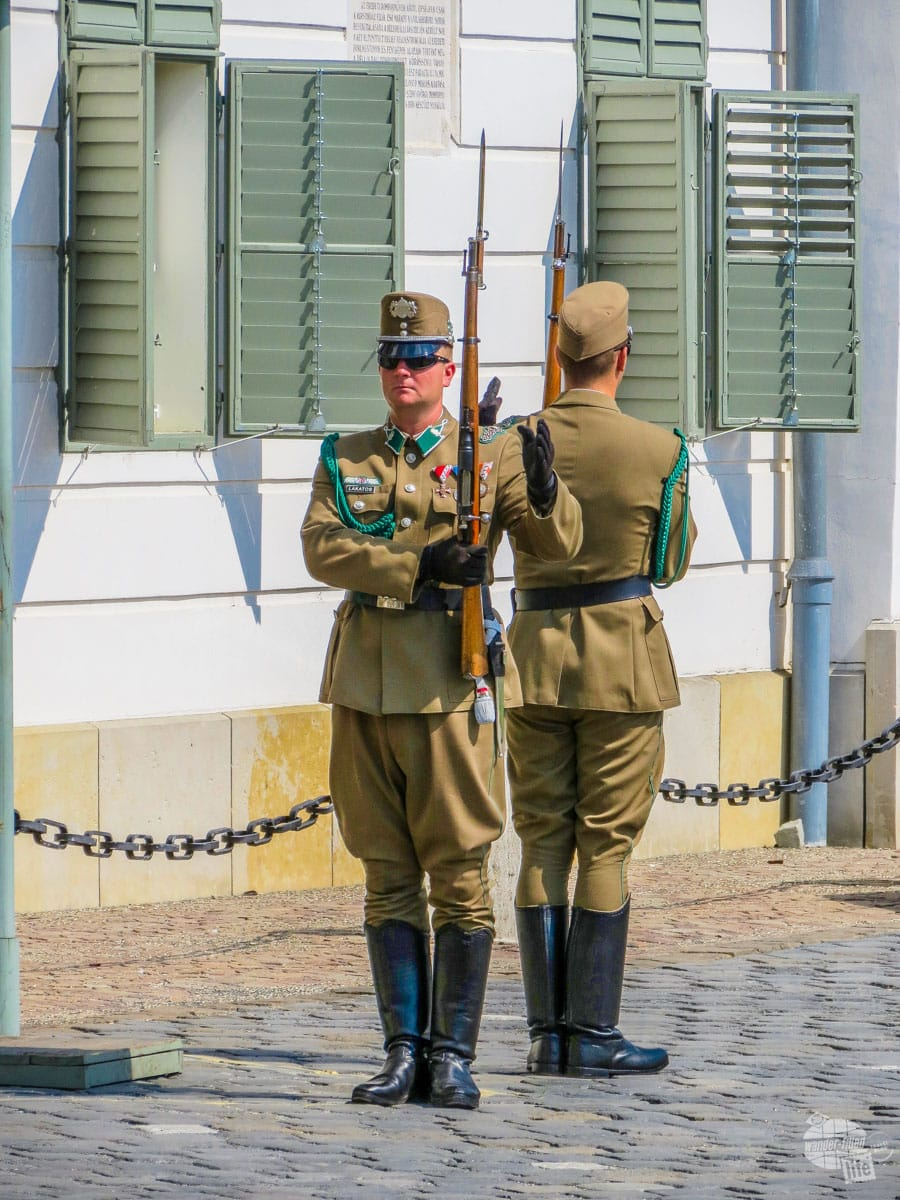 Changing of the guard at Buda Castle Park