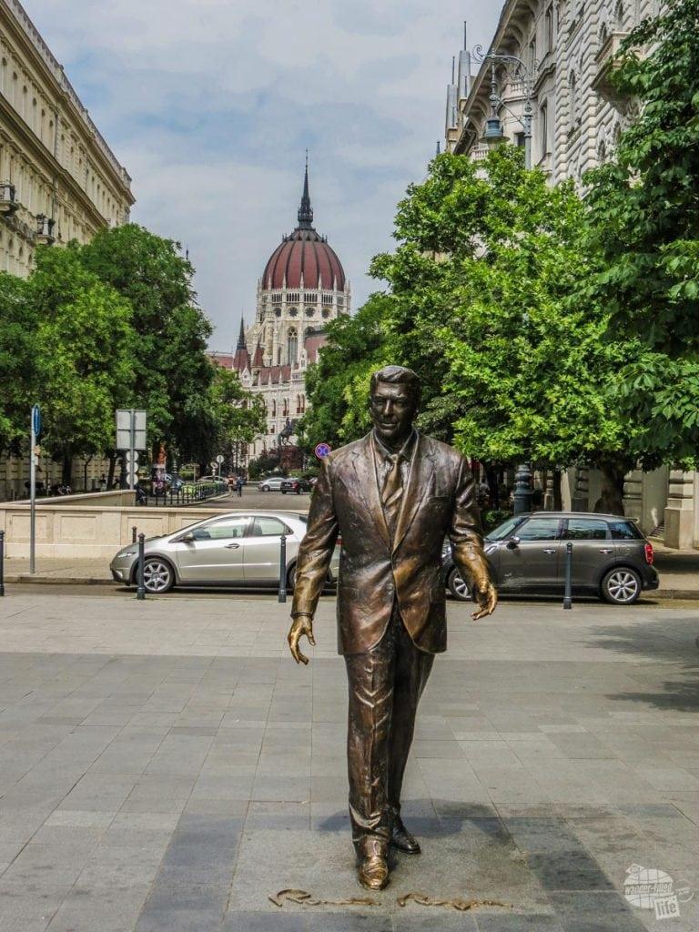 Ronald Regan's statue in Budapest.