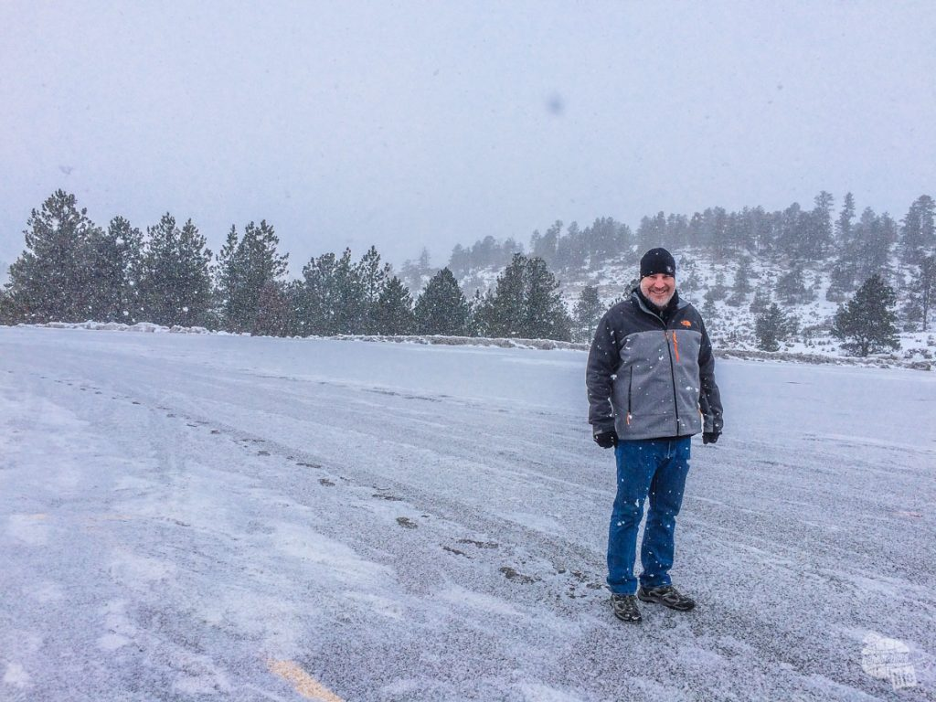 The snow was really coming down on our way to Bozeman, MT. Make sure you plan for snow on a winter road trip